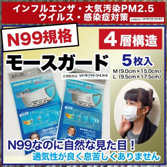 【宅配便発送】 インフルエンザ・PM2.5対策 【N99規格準拠・高機能マスク】 モースガード 1袋5枚入り ※モースガードのMサイズは、仕様の変更上パッケージにSと表記されていますが、同シリーズのMサイズと同様9.0cm×15.0cmとなっております。