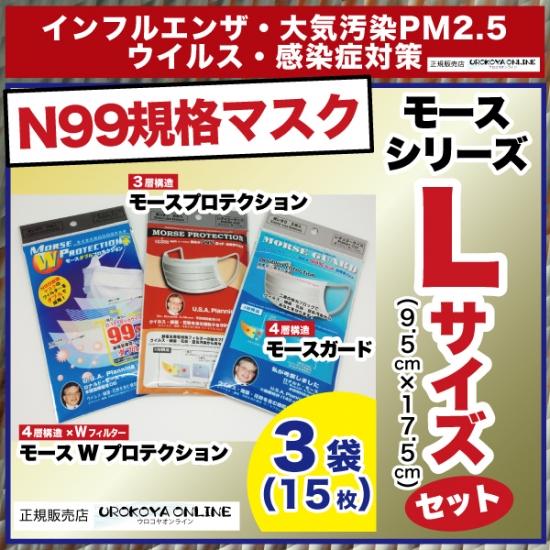 【宅配便発送】 インフルエンザ・PM2.5対策 【N99規格準拠・高機能マスク】 モースプロテクション、モースガード、モースWプロテクションのLサイズの3袋(15枚)セットです。