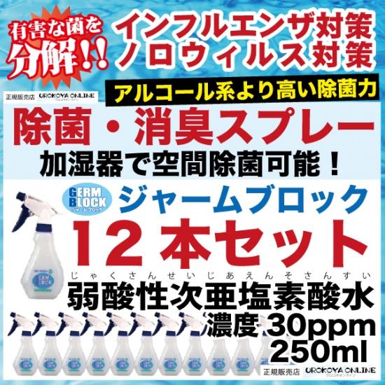 弱酸性次亜塩素酸水 ジャームブロック(そのまま使えるタイプ) スプレータイプ 30ppm 250ml 12本入 ■保存期間:2ヶ月