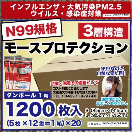 【送料無料】 インフルエンザ・PM2.5対策 【N99規格準拠・高機能マスク】 モースプロテクション 1カートン1200枚入【(5枚×12袋)×20箱】 ※S・Lの2種類からお選びください。