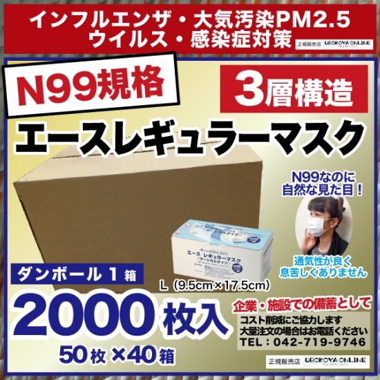 【送料無料】 インフルエンザ・PM2.5対策 【N99規格準拠・高機能マスク】 エースレギュラーマスク 1カートン2000枚入り【50枚×40箱】 ※Lサイズのみ
