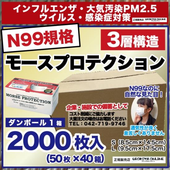 【送料無料】 インフルエンザ・PM2.5対策 【N99規格準拠・高機能マスク】 モースプロテクション 1カートン2000枚入【50枚×40箱】 ※サイズS・Lからお選びください。