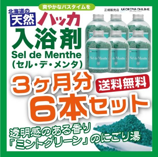 【宅配便送料無料・代引OK】 6本セット■入浴剤 Sel de Menthe(セル・デ・メンタ) 徳用ボトル 6本セット(2700g)